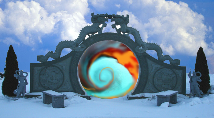 A cloudy blue sky over a snowy landscape with a gate guarded by two stone dragons with a vortex at the center